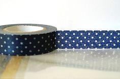 Navy Washi Tape NAVY BLUE Polka Dots Japanese by PrettyTape, $3.90