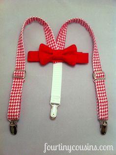 Baby Boy Valentine Suspenders and Bow Tie