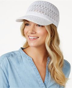 Inc International Concepts Crochet Packable Baseball Cap, Created for Macy's - Scrunchies, Sombrero A Crochet, Crochet Hat With Brim, Knit Crochet, Crochet Hats, Casual Loafers, Crochet Designs, Handbag Accessories, Knitting Patterns