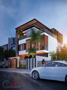 Biệt thự anh Việt. 10mx20m on Behance Modern Bungalow Exterior, Modern House Facades, Dream House Exterior, Unique House Design, House Front Design, Cool House Designs, 3 Storey House Design, Bungalow House Design, Philippines House Design