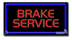 "Brake Service Neon Sign - 20"" x 37""-ANS1500-2148-R  37"" Wide x 20"" Tall x 3"" Deep  Flashing Border ""ON/OFF"" switch  Sign is mounted on an unbreakable black or clear Lexan backing  Top and bottom protective sides  110 volt U.L. listed transformer fits into a standard outlet  Hanging hardware & chain included  6' Power cord with standard transformer  For indoor use only  1 Year Warranty on electrical components."