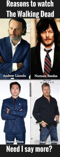 """!!!!!!HANDSOME GUYS!  (Waaaaah. Our old crew)   We lost Glenn and Abraham on the Oct 12'16 premiere in the most brutal episode ever...  Negan bludgeoning them with """"Lucille""""."""