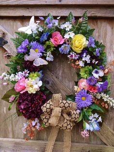 XXL Wild Flowers BUTTERFLIES Silk Floral Wreath Door Decor Burlap Ribbon NEW