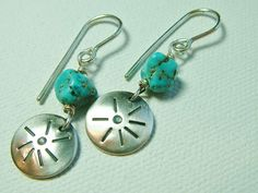 Sterling Silver Turquoise Earrings Small by MarlasJewelry on Etsy, $25.00 #SterlingSilver #Turquoise #Handmade