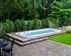 Hydropool Self Cleaning Swim Spa Installed Inground Small Pool Pools Nice