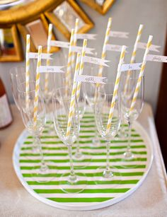 "custom straw flags with each guests name serve as both drink markers and helpful ""name tags"""