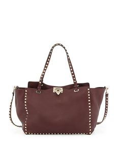 Rockstud Grained Tote Bag, Bordeaux by Valentino at Neiman Marcus.