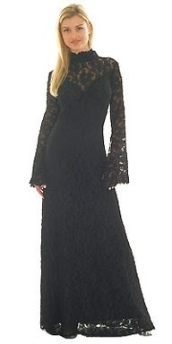 High neck and sleeves with LOTS of lace! Black Wedding Dress.