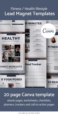 Canva template includes everything you need (ebook pages, worksheets, checklists, planners, trackers and call-to-action pages) to create beautiful lead magnet pages for your website or blog. #canvatemplate #templates #optinfreebie #contentupgrade #leadmagnet #canva #templates #emailmarketing #worksheet #workbooktemplate #fitnessplanner