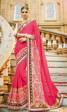 Designer Party Wear Pink Floral embroidered Saree With Front Zip Blouse