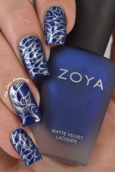 Seahorse nail stamping nail art.  Zoya Yves, Color Club What A Drag and Messy Mansion plate MM29