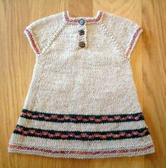 Hand Knitted ~ Pretty A-line Dress ~ Ecru with Fair Isle patterned hem in  teal/pink ~ 0-3 months - pinned by pin4etsy.com