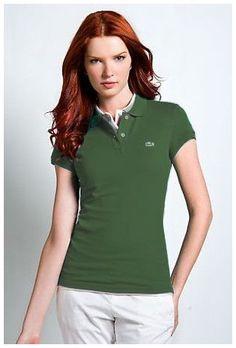 7edd00b831e Vente chaude Polo Lacoste Femmes revers court T Shirt herbe verte discount