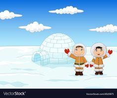 Little kids wearing traditional Eskimo costume vector image on VectorStock Polo Norte, Eskimo Costume, Igloo House, Hat Crafts, Kids Wear, Adobe Illustrator, Vector Free, Winter Hats, Costumes