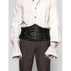 Black PVC Leather Victorian Gothic Steam Punk Fashion Girdle for Men SKU-71106075