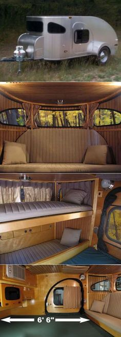 The Return of Teardrop Trailers - Teardrop Trailer by Wisconsin-based Camp Inn Trailers features panoramic windows, wood paneling, a couch that transforms into child-sized bunk beds, plus a roomy 6 ft + of legroom Tiny Trailers, Vintage Trailers, Camper Trailers, Travel Trailers, Vintage Campers, Kombi Trailer, Trailer Park, Trailer Build, Tiny Camper