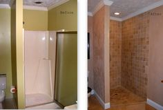 Masterbath: replaced the old fiberglass shower with a tiled floor to ceiling shower