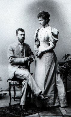 This is a photo of Nicholas and Alix of Hesse upon their engagement in 1894. The couple originally met in 1884 for Alix's sister Ella's wedding to Nicholas' Uncle Sergei. Nicholas was sixteen and Alix was twelve.