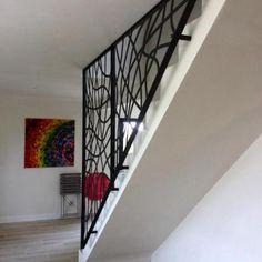 Garde-corps métallique - Art Métal Concept Glass Partition Designs, Wrought Iron Design, Staircase Railings, House Design, Country Interior, Foyer Design, Living Room Designs, Home Stairs Design, Stair Railing Design