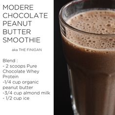 """If you're a chocolate and peanut butter fan, then you're going to love """"The Finigan."""" This protein shake is named after Modere's Chief Marketing Officer. It's a go-to shake for… Whey Protein Recipes, Whey Protein Shakes, Protein Powder Recipes, Protein Foods, Chocolate Peanut Butter Smoothie, Chocolate Shake, Chocolate Protein, Cake Chocolate, Health Drinks Recipes"""