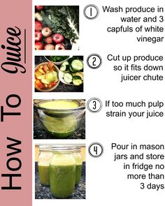 Follow this step-by-step guide when juicing your favorite vegetables and fruit for a healthy and refreshing drink. #juicing #juice #organic #vegan Healthy Drinks, Get Healthy, Healthy Snacks, Healthy Eating, Healthy Recipes, Clean Eating, Fast Recipes, Smoothie Recipes, Smoothies
