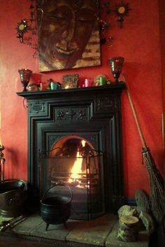 Inside the witch's cottage with broom and a great big face