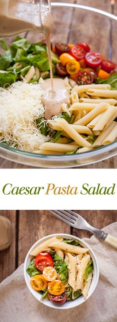 Caesar Pasta Salad - Five ingredients and fifteen minutes make this tasty lunch or side dish easy to make! Full recipe at theliveinkitchen.com