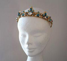 Blue Swarovski Crystals Headbandwedding crown by ZTetyana on Etsy