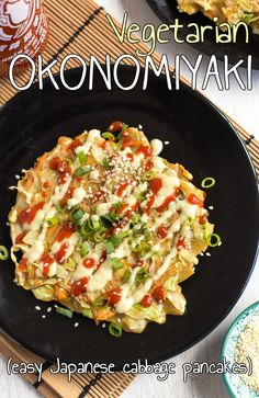 Vegetarian okonomiyaki - a Japanese savoury pancake that's a lot easier to make than it sounds!