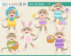 Easter Sock Monkeys Clip Art - color and outlines $