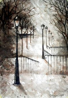 Original Watercolor Painting - Montmartre Stairs - Paris Sepia Landscape - Street Lamp Painting - Contemporary Art By Gargovi on Etsy, £51.90