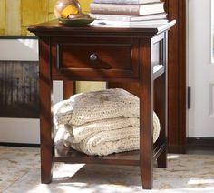 Hudson Bedside Table, Mahogany stain $299 Pottery Barn