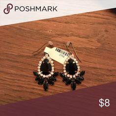 Black & crystal statement earrings Beautiful black & crystal drop earrings Accessories