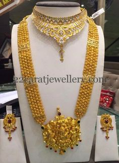 Gold Antique Long Haram 110Grams | Jewellery Designs