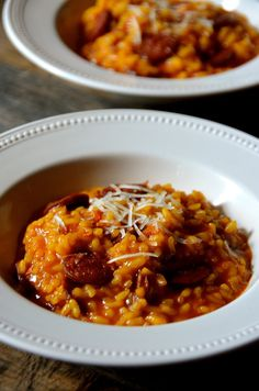 Chorizo and Manchego Risotto Get the recipe for this easy summer entertaining dish  of Chorizo and Manchego Risotto made with Carolina Arborio rice. Made with Spanish chorizo and freshly grated manchego cheese, it's bright and colorful and perfect dish to serve for special family dinners or casual supper parties with friends. #sponsored