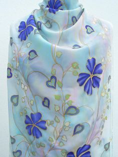 Silk scarf hand painted pastel sky blue purple pink floral