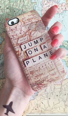 Let's jump on a plane! Gift idea for travel bugs. Available for iPhone 6/6+, 5s/5, and many more.