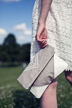 Geometrical Illusion Printed Leather Pouch white ipad by CORIUMI