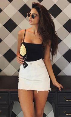 black bodysuit + white denim skirt #ootd