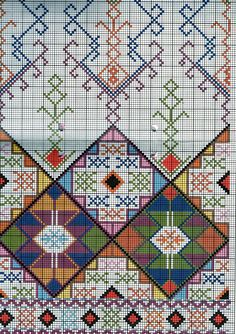 Traditional embroidery patterns, traditional cross stitch, vintage embroidery, ΣΤΑΥΡΟΒΠDmc Cross Stitch, Cross Stitching, Cross Stitch Embroidery, Cross Stitch Patterns, Vintage Cross Stitches, Vintage Embroidery, Embroidery Patterns, Bargello, Oriental