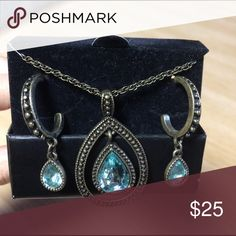 ❌final price ❌Greenish blue necklace earrings set Never worn, box missing lid Jewelry Necklaces