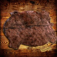 Plains Indian Brown Buffalo Pelt Rug / Suitable for Bed , Wall or Floor Display / Animal Friendly Premium Faux Fur / Americana Art Rug Collection by FurAccents.