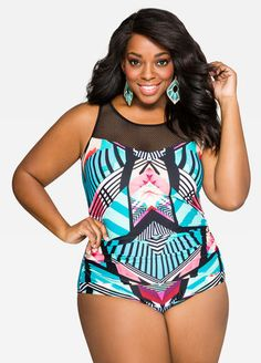 a6997e8167 Plus Size Tropi-Print Power Mesh Swimsuit-059-EBW694