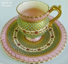 coalport jeweled cup and saucer | Coalport Jeweled Cup & Saucer, England