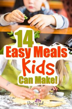 Your kids will love learning these 14 easy meals! These are simple, fun meals that kids can make! 14 Easy meals kids can learn NOW! Plus, simple kitchen tips and cooking skills that kids can learn as they create fun, new recipes! Recipes Kids Can Make, Easy Meals For Kids, Fun Easy Recipes, Toddler Meals, Food To Make, Simple Meals, Cooking With Kids Easy, Easy No Cook Recipe For Kids, Easy Kids Dinner Recipes