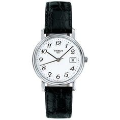 Tissot Desire Ladies White Quartz Watch With Black Leather Strap (€145) ❤ liked on Polyvore featuring jewelry, watches, white, tissot, tissot watches, tissot wrist watch, quartz watches and white watches