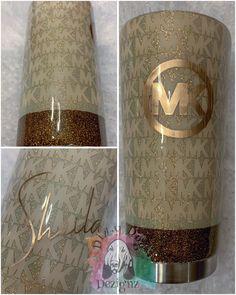 Michael Kors OFF! Diy Tumblers, Custom Tumblers, Glitter Tumblers, Acrylic Tumblers, Personalized Tumblers, Tumblr Cup, Disney Cups, Cricut Craft Room, Custom Cups