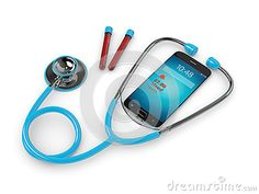 3d rendering of blue stethoscope and mobile phone with blood test alert