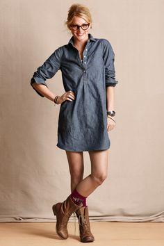 Women's Chambray Weekend Shirtdress - shirts, floral, christmas, chambray, couple, softball shirt *ad