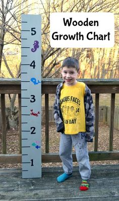 Make this wooden growth chart to measure your kiddos; it's portable and can move with you!